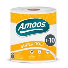 AMOOS PAPEL DE COCINA SUPER ROLLO 100% FIBRA